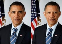 Barrack Obama with and without eyebrows. How does he look like